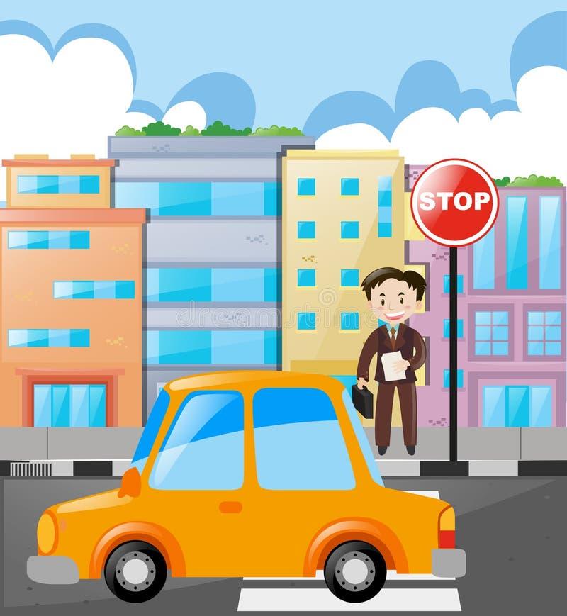 Cena com homem e carro na estrada ilustração royalty free