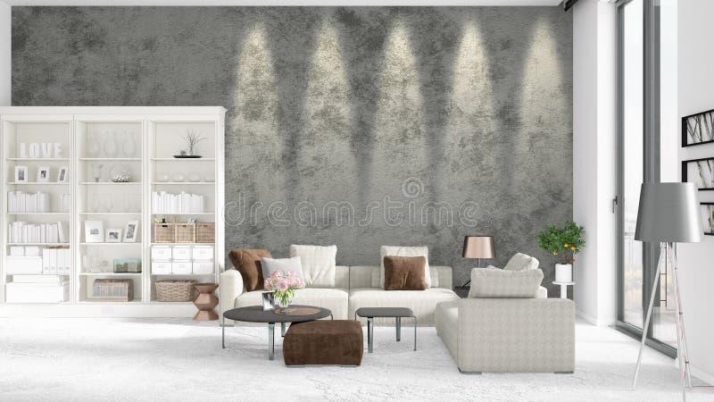 Cena com interior brandnew na moda com cremalheira branca e o sofá cinzento moderno rendição 3d Arranjo horizontal ilustração do vetor