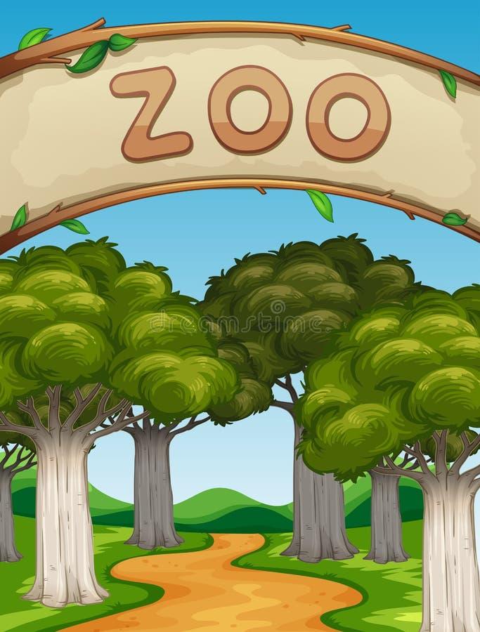 Cena com jardim zoológico e árvores ilustração royalty free
