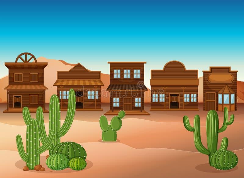 Cena com lojas e cacto no deserto ilustração stock