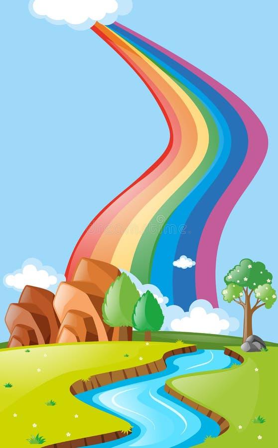 Cena com o arco-íris sobre o rio ilustração stock