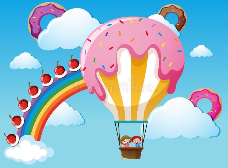Cena com o balão do arco-íris e dos doces ilustração do vetor