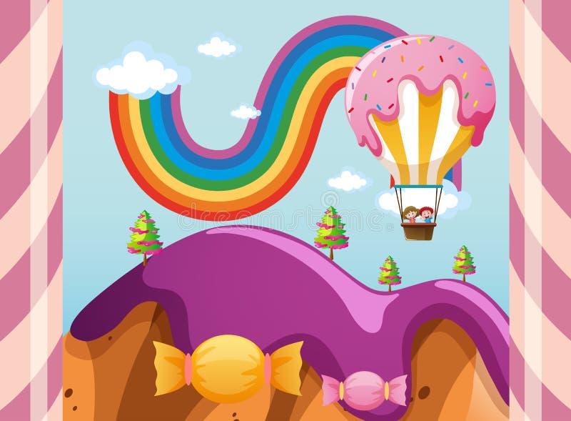 Cena com o balão dos doces sobre montanhas roxas ilustração royalty free