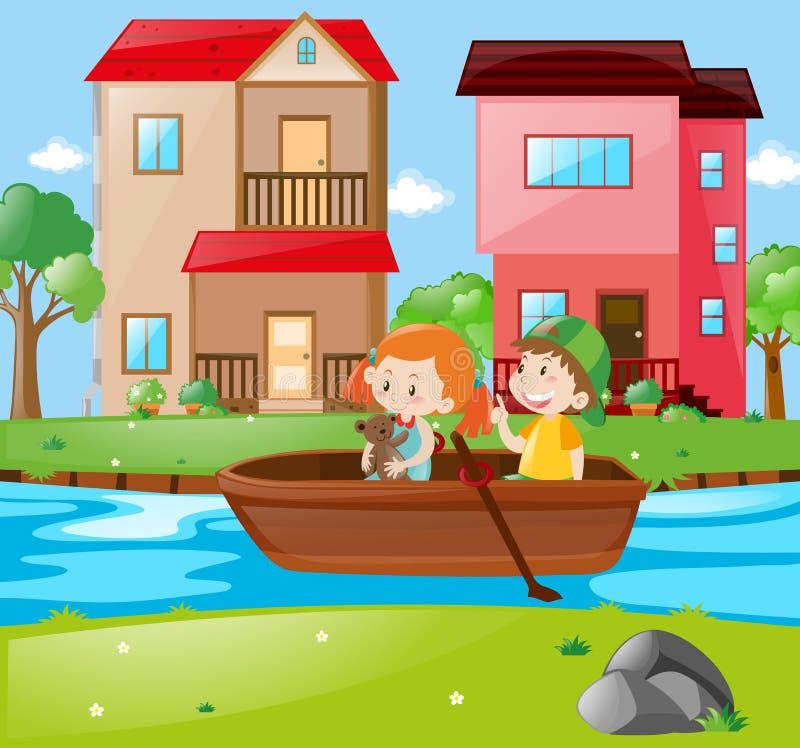 Cena com o barco de enfileiramento das crianças ilustração royalty free
