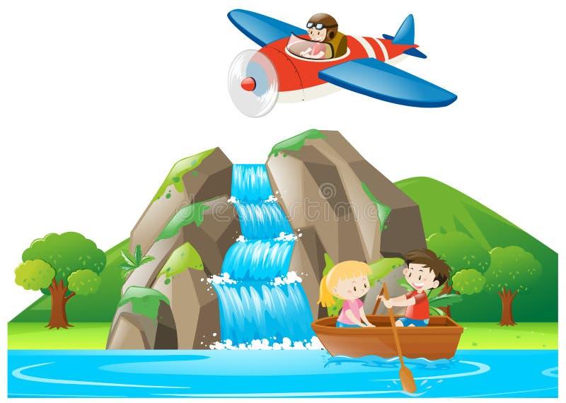 Cena com o barco de enfileiramento das crianças ilustração stock