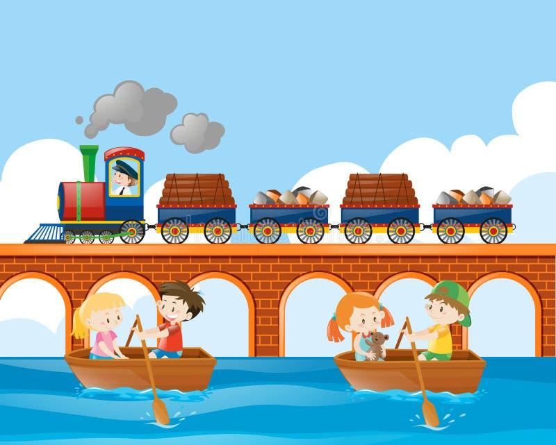 Cena com o barco do trem e de enfileiramento das crianças ilustração stock