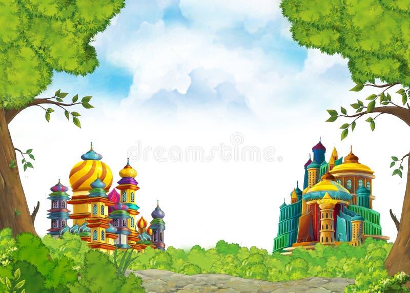 Cena com os castelos medievais bonitos - reino dos desenhos animados de Extremo Oriente - com espaço para o texto ilustração do vetor