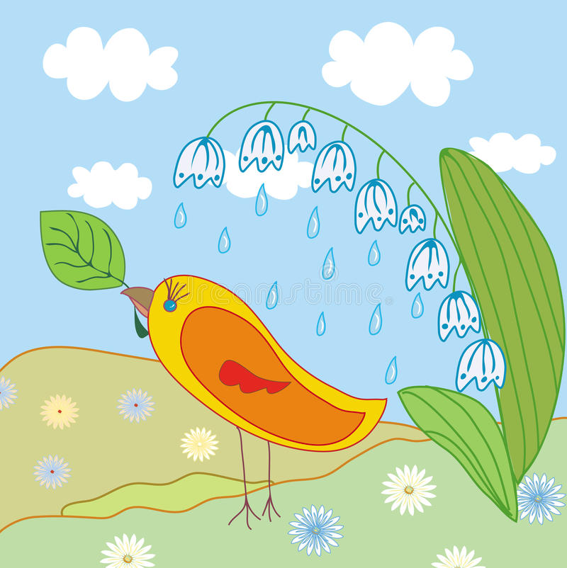 Cena com pássaro ilustração do vetor