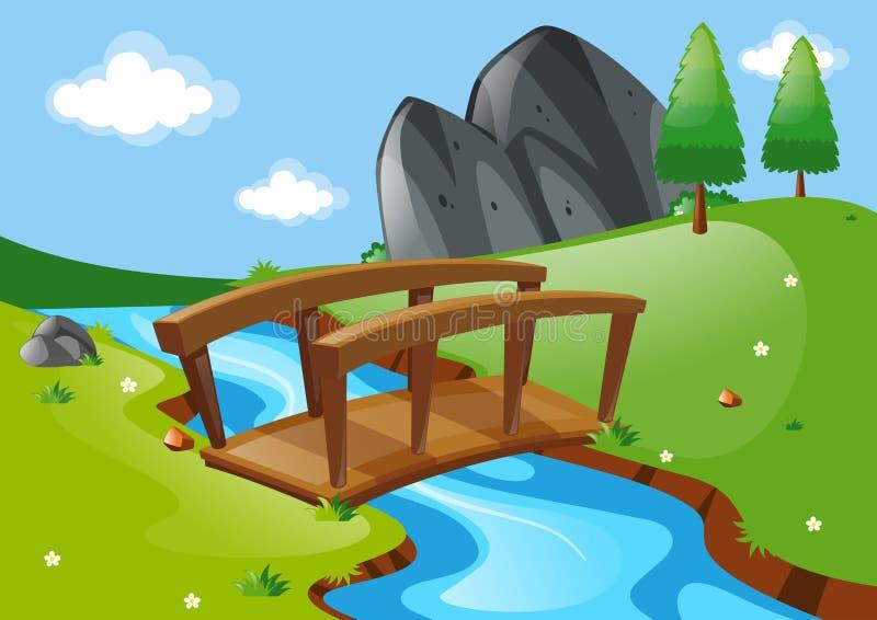 Cena com a ponte sobre o rio ilustração stock