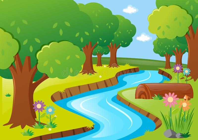 Cena com rio e árvores ilustração do vetor