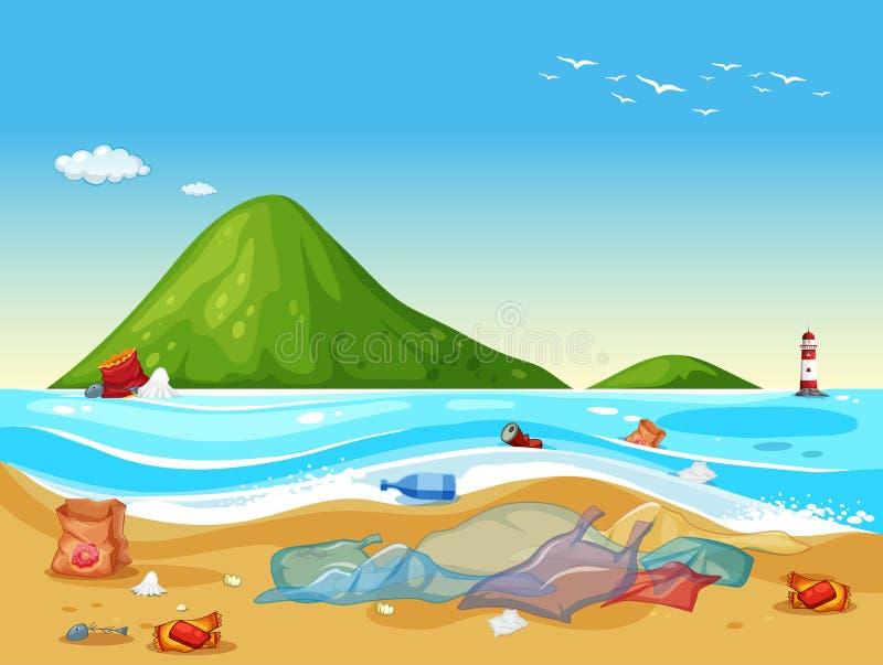 Cena com sacos de plástico na praia ilustração stock