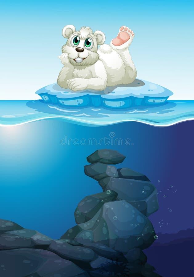 Cena com urso polar e subaquático ilustração stock