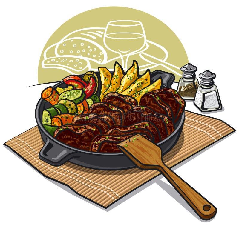 Cena con la carne asada libre illustration