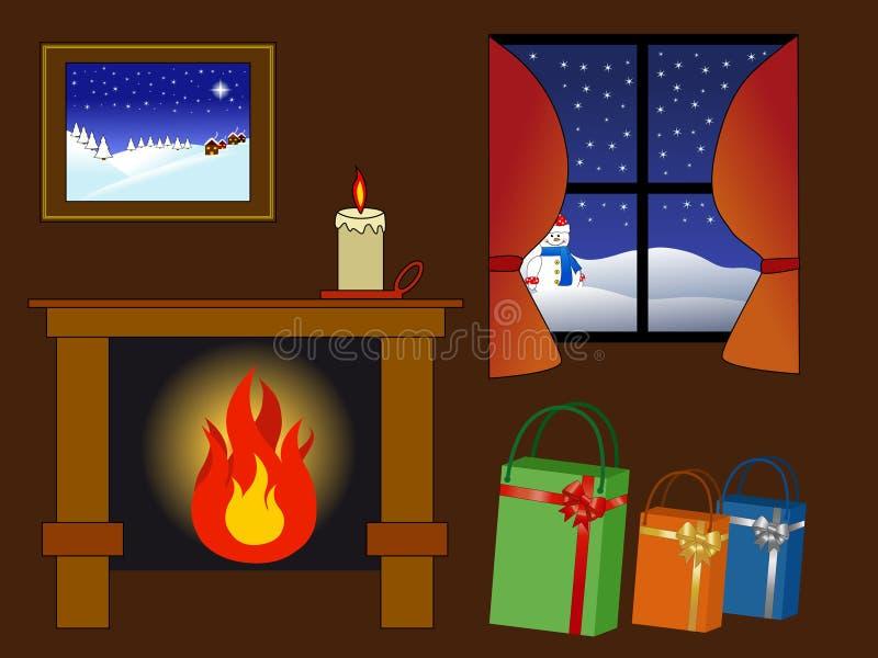 Cena Cosy do inverno ilustração stock