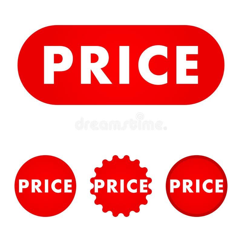 Cena czerwony guzik ilustracja wektor