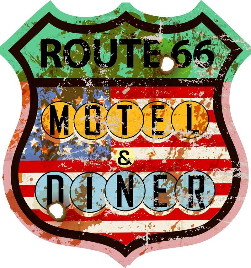 Cena d'annata dell'itinerario 66 e segno del motel, illustrazione di stock