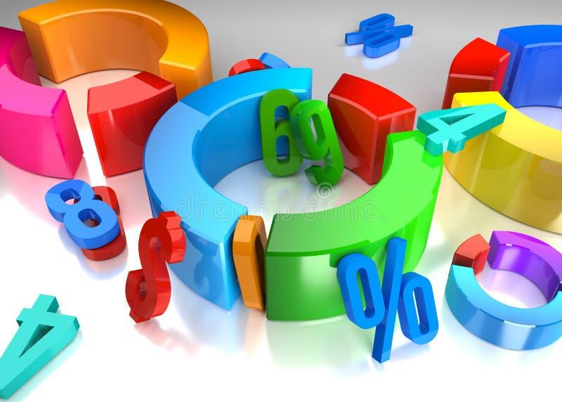 cena 3D com símbolos do negócio ilustração do vetor