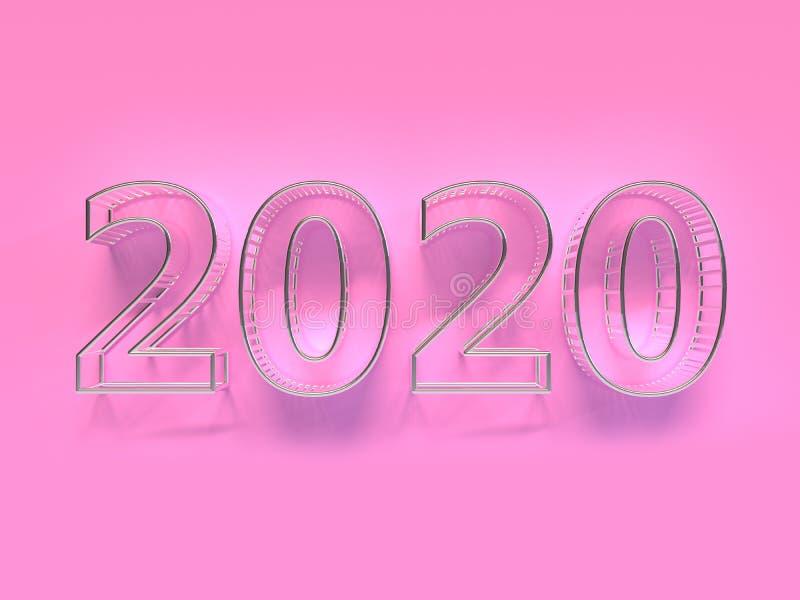 Cena 3d da parede do rosa do tipo da prata 2020/número do texto para render ilustração stock