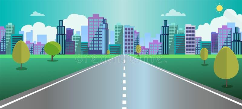 A cena da arquitetura da cidade com estrada, as árvores e o fundo do céu vector a ilustração Rua principal ao conceito da cidade  ilustração stock