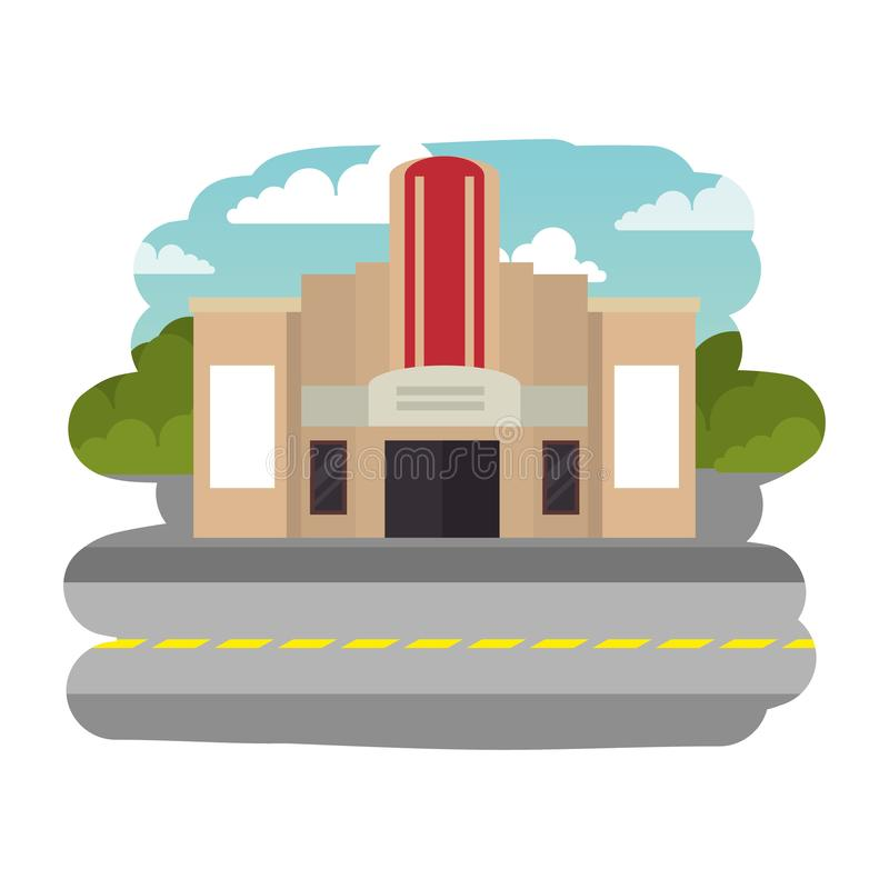 Cena da arquitetura da cidade da rua com construção do cinema ilustração stock