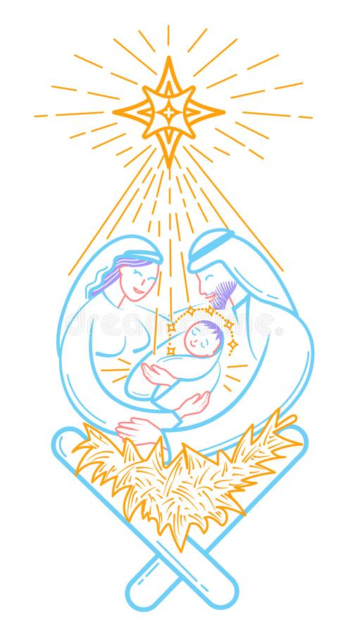Cena da Bíblia o ícone da natividade ilustração stock
