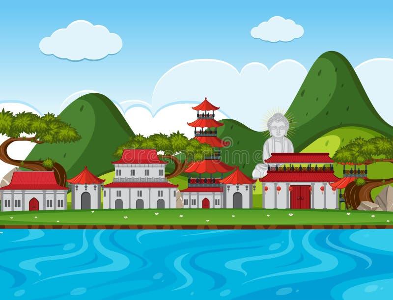 Cena da cidade com construções chinesas ao longo do rio ilustração royalty free
