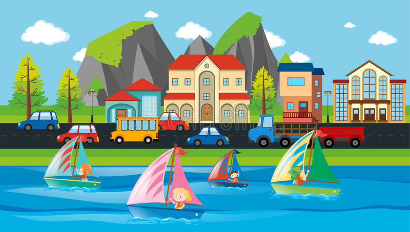 Cena da cidade com construções e carros ilustração royalty free