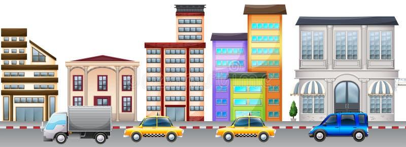 Cena da cidade com construções e carros na estrada ilustração do vetor