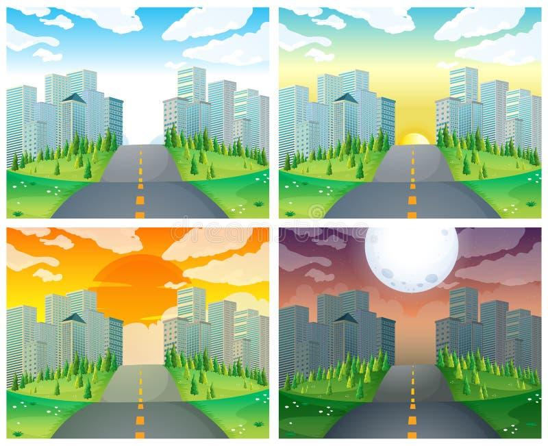 Cena da cidade com construções e estrada ilustração do vetor