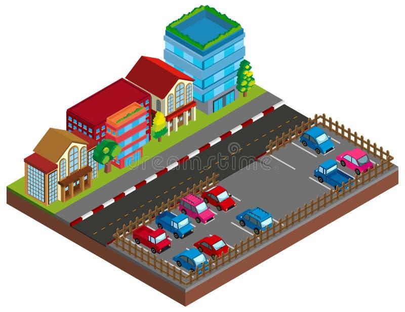 A cena da cidade com construções e o carpark em 3D projetam ilustração royalty free