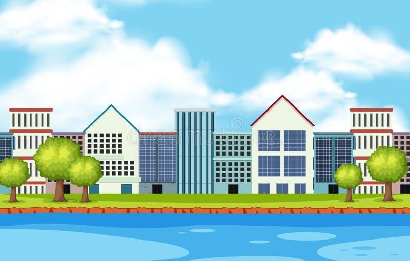 Cena da cidade com muitas construções ao longo do rio ilustração do vetor