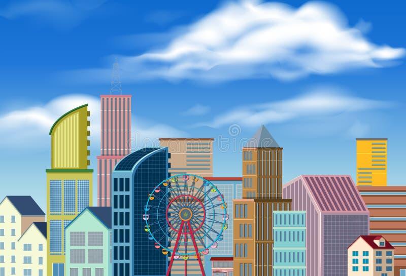 Cena da cidade com muitas construções e roda de ferris ilustração do vetor