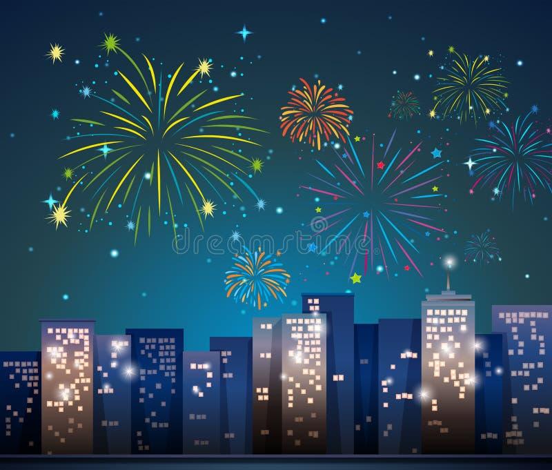 Cena da cidade com os fogos-de-artifício na noite ilustração do vetor