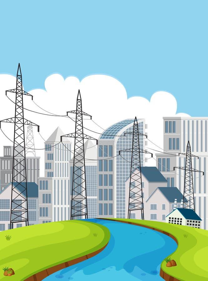 Cena da cidade com polos e construções da eletricidade ilustração do vetor
