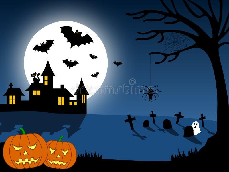 Cena da cidade de Halloween [1] ilustração royalty free