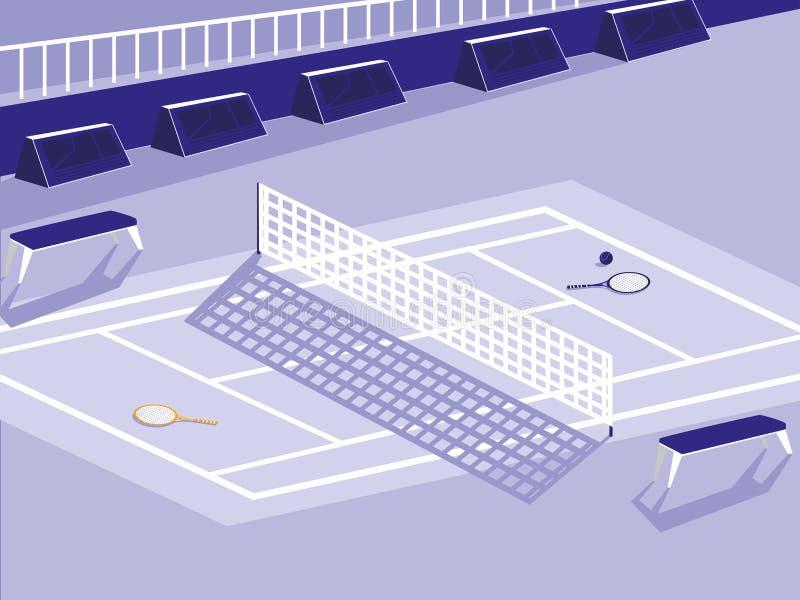 Cena da corte do esporte do tênis ilustração stock