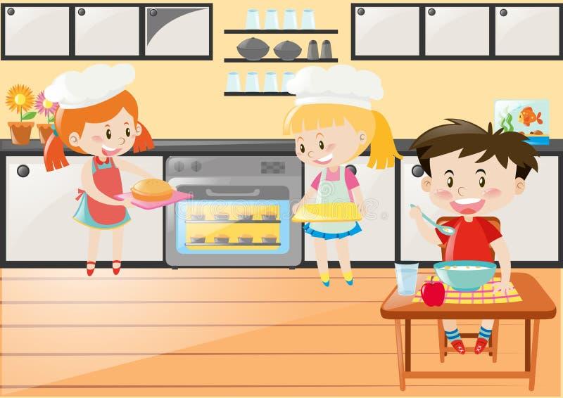 Cena da cozinha com as meninas que cozem e comer do menino ilustração stock