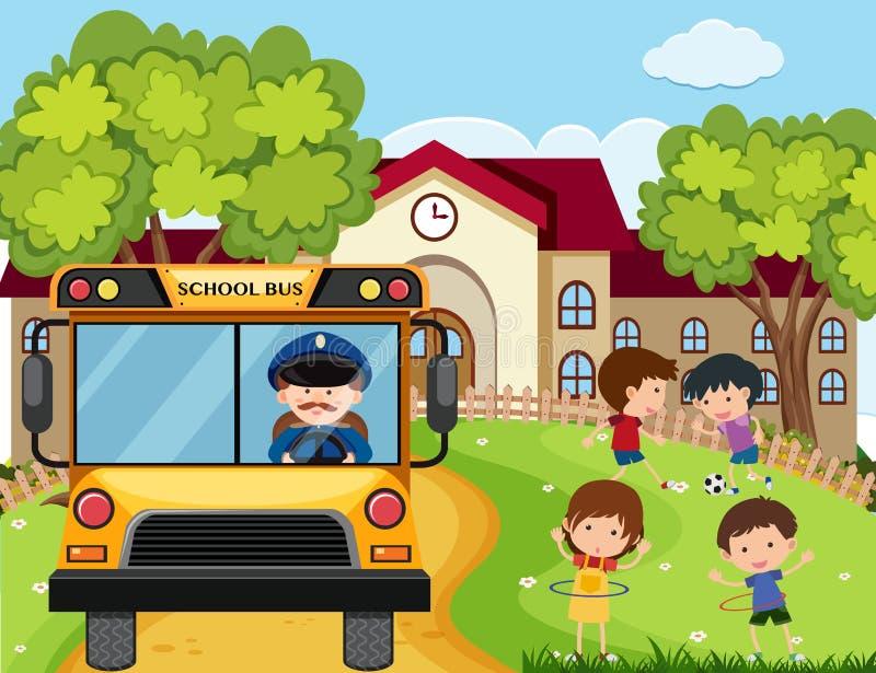 Cena da escola com condutor de ônibus e crianças no parque ilustração do vetor