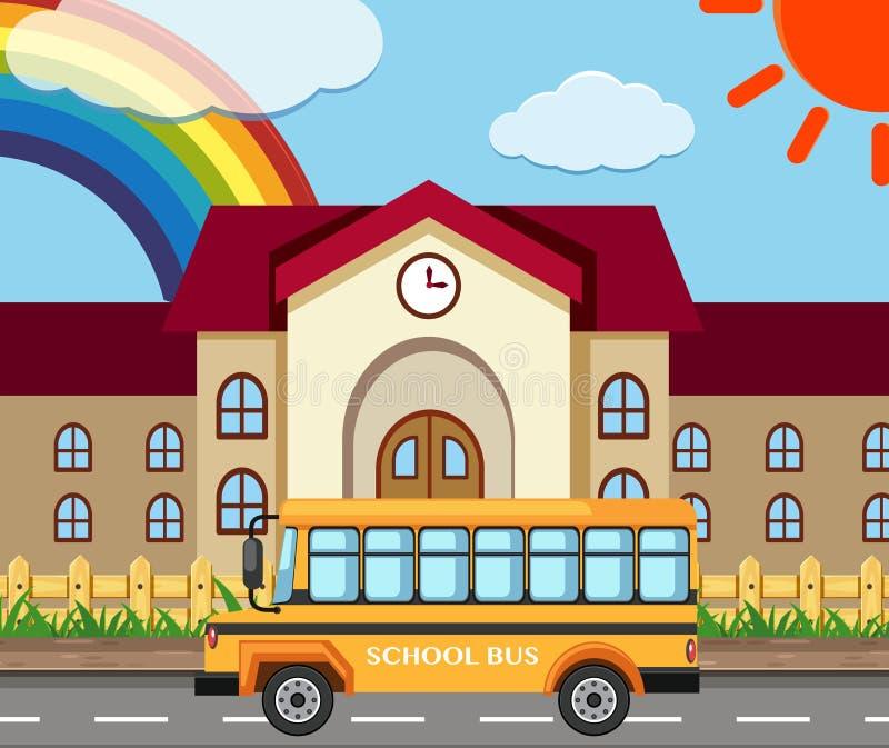 Cena da escola com construção e ônibus ilustração do vetor