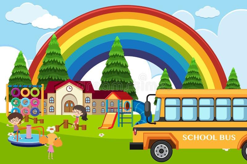 Cena da escola com estudantes e ônibus ilustração do vetor
