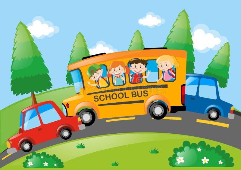 Cena da estrada com as crianças que montam no ônibus escolar ilustração do vetor