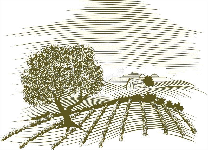 Cena da exploração agrícola do Woodcut ilustração royalty free