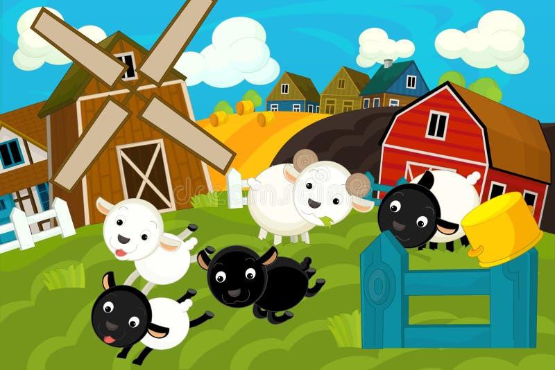 Cena da exploração agrícola dos desenhos animados - vila tradicional - para o uso diferente ilustração do vetor