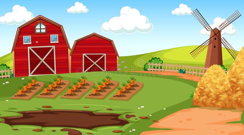 Cena da exploração agrícola na natureza com celeiro ilustração royalty free
