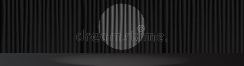 Cena da fase e luz pretas do ponto no centro ilustração royalty free