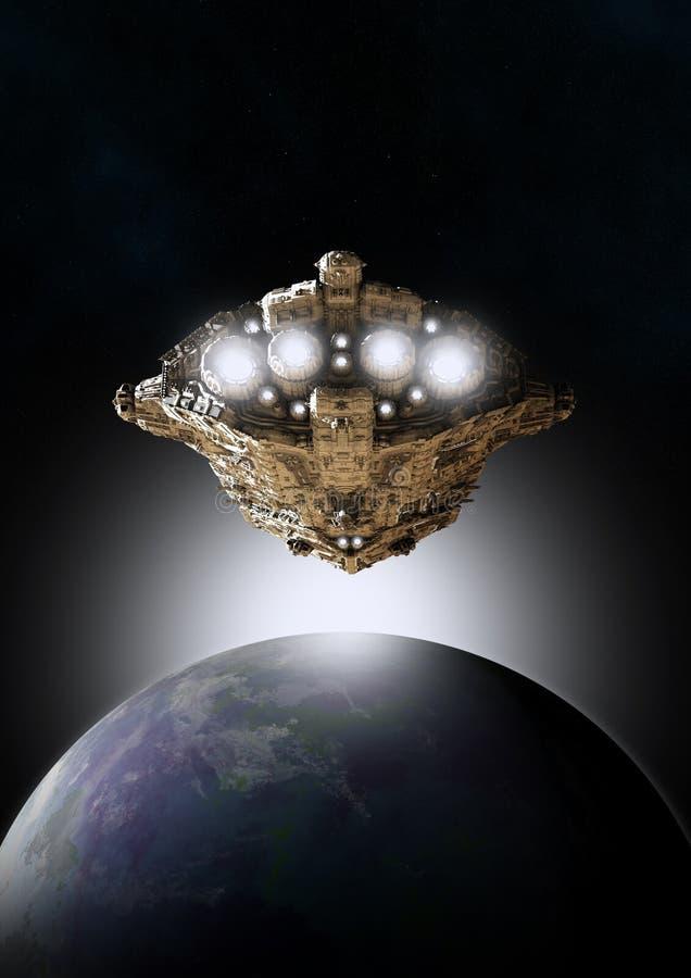 Nascer do sol no espaço ilustração do vetor