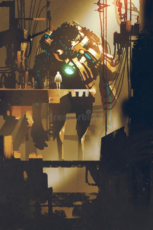 Cena da ficção científica do robô gigante na fábrica velha ilustração do vetor