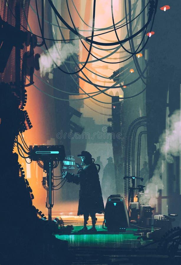 Cena da ficção científica do robô usando o computador futurista na rua da cidade ilustração stock