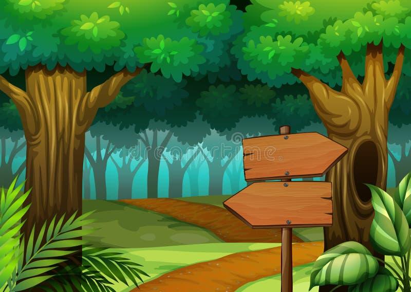 Cena da floresta com sinais de madeira ilustração royalty free