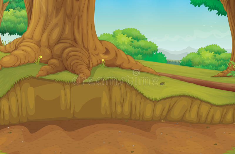 Cena da floresta do tronco de árvore ilustração royalty free